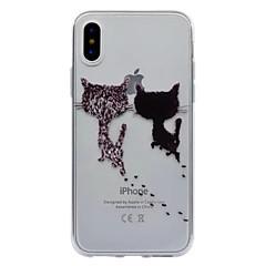 Назначение iPhone X iPhone 8 Чехлы панели Полупрозрачный С узором Задняя крышка Кейс для Кот Мягкий Термопластик для Apple iPhone X
