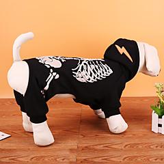 abordables Regalos para Amantes de Mascotas-Perro Disfraces Abrigos Sudadera Ropa para Perro Cráneos Negro Rojo Terileno Disfraz Para mascotas Fiesta Cosplay Navidad Halloween