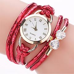 cheap Bracelet Watches-Women's Fashion Watch Bracelet Watch Simulated Diamond Watch Chinese Quartz Imitation Diamond PU Band Casual Bohemian Elegant Black White