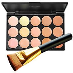 1pc 15 kleur pro natuurlijke contour gezicht crème gezicht concealer make-up cosmetische palet & 1 vlakke contour concealer brush