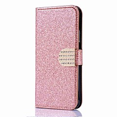 For iPhone X iPhone 8 Case Cover Wallet Card Holder Rhinestone with Stand Flip Magnetic Full Body Case Solid Color Hard PU Leather for