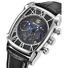 お買い得  メンズ腕時計-男性用 リストウォッチ 日本産 カレンダー / ストップウォッチ / クール 本革 バンド ぜいたく / カジュアル / ファッション ブラック / ブラウン / 2年 / Maxell SR626SW