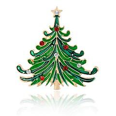 お買い得  ブローチ-合成ダイヤモンド ブローチ - 命の木 ブローチ グリーン 用途 クリスマス / パーティー