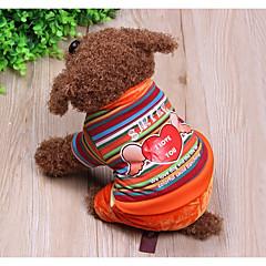 お買い得  犬用ウェア&アクセサリー-犬 ジャンプスーツ 犬用ウェア 縞柄 / 天使 虹色 立ち毛メリヤス生地 / ダウン / コットン コスチューム ペット用 カジュアル/普段着