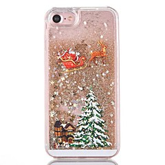 baratos Capinhas para iPhone-Capinha Para iPhone 7 / iPhone 7 Plus / iPhone 6s Plus iPhone 8 / iPhone 8 Plus Liquido Flutuante Capa traseira Glitter Brilhante / Natal Rígida PC para iPhone 8 Plus / iPhone 8 / iPhone 7 Plus