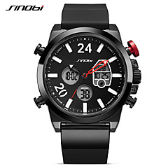 SINOBI Hombre Reloj Deportivo Reloj de Moda Japonés Digital LED Calendario Resistente al Agua Noctilucente Esfera Grande Silicona Banda