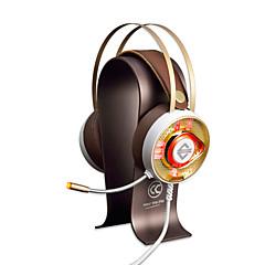 AJAZZ AX360Gold 머리띠 유선 헤드폰 동적 스테인레스 게임 이어폰 듀얼 드라이버 소음 차단 마이크 포함 볼륨 컨트롤 헤드폰