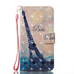 Назначение iPhone X iPhone 8 Чехлы панели Кошелек Бумажник для карт со стендом Флип С узором Магнитный Чехол Кейс для Эйфелева башня