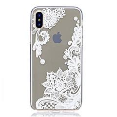 Kompatibilitás iPhone X iPhone 8 iPhone 8 Plus tokok Ultra-vékeny Átlátszó Minta Hátlap Case csipke nyomtatás Puha Hőre lágyuló poliuretán