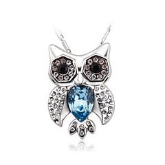 Dame Kort halskæde Halskædevedhæng Krystal Kvadratisk Zirconium Ugle Zirkonium Sølvbelagt Mode Personaliseret Smykker Til Bryllup