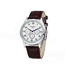preiswerte Herrenuhren-Herrn Modeuhr Japanisch Armbanduhren für den Alltag Leder Band Charme Schwarz / Braun