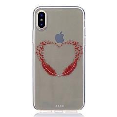 Назначение iPhone X iPhone 8 Чехлы панели Ультратонкий Прозрачный С узором Задняя крышка Кейс для  Перья Мягкий Термопластик для Apple