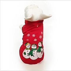 お買い得  犬用ウェア&アクセサリー-ネコ 犬 スウェットシャツ 犬用ウェア スノーフレーク柄 レッド コットン コスチューム ペット用 パーティー カジュアル/普段着 コスプレ 保温 クリスマス ハロウィーン