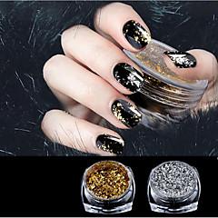1 laatikko kulta / hopea glitter alumiinihiutaleet magia peili vaikutus jauheet roiskeet kynsilakka kromi pigmenttikoristeet 0,2g