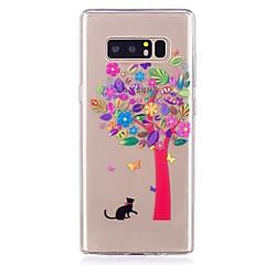 Недорогие Чехлы и кейсы для Galaxy Note 5-Кейс для Назначение SSamsung Galaxy Ультратонкий Прозрачный С узором Задняя крышка Кот дерево Мягкий TPU для Note 8 Note 5 Edge Note 5
