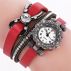 preiswerte Damenuhren-Damen Armband-Uhr Simulierter Diamant Uhr Quartz Imitation Diamant PU Band Analog Charme Freizeit Modisch Schwarz / Weiß / Blau - Rot Blau Rosa