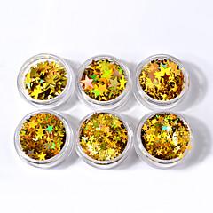 6box أحجام مختلفة من الذهبي خمسة أشار الترتر نجمة الترتر الليزر الملونة الترتر الأظافر