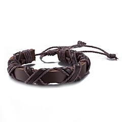 お買い得  ブレスレット-男性用 女性用 その他 レザーブレスレット  -  円形 ブラック Brown ブレスレット 用途 日常 カジュアル 舞台