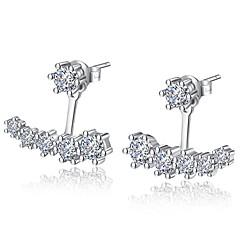 preiswerte Ohrringe-Damen Kubikzirkonia Gestlyte Ohrringe Vorne Hinten - versilbert Silber Für Zeremonie / Valentinstag