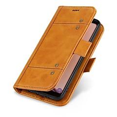 Недорогие Кейсы для iPhone 6 Plus-Кейс для Назначение Apple iPhone X iPhone 8 Бумажник для карт Кошелек Флип Чехол Сплошной цвет Твердый Настоящая кожа для iPhone X iPhone