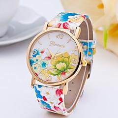 preiswerte Damenuhren-Damen Armbanduhr Quartz Armbanduhren für den Alltag Leder Band Analog Modisch Elegant Blau / Rot / Orange - Braun Rot Blau