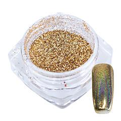 1g / flasche gold regenbogen laser holographische chrom pigment glänzende nail art glitter