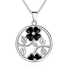 Жен. Ожерелья с подвесками Ожерелья-цепочки Круглый В форме цветка Медь Серебрянное покрытие Сердце Мода Бижутерия Назначение Для