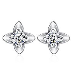 Жен. Серьги-гвоздики Цирконий Серебрянное покрытие В форме цветка Бижутерия Назначение Повседневные