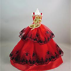 Feest/Avond Jurken Voor Barbiepop Rood + Golden Jurken Voor voor meisjes Speelgoedpop