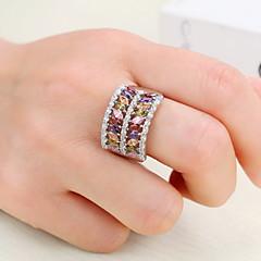Erkek Kadın's Eklem Yüzükleri Nişan yüzüğü Kübik Zirconia Zirkon Bakır Geometric Shape Mücevher Uyumluluk Düğün Parti Doğumgünü Nişan