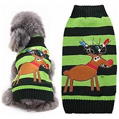 القطط الكلاب البلوزات ملابس الكلاب الشتاء الرنة جميل موضة عيد الميلاد أخضر