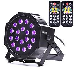 voordelige Binnenverlichting-zq-b194b-yk2 18 * 1w leds paars kleur auto dmx geluid geactiveerd pariode verlichting met 2 afstandsbediening voor disco party club ktv