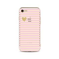 Недорогие Кейсы для iPhone 5-Кейс для Назначение Apple iPhone X iPhone 8 Прозрачный С узором Кейс на заднюю панель Полосы / волосы С сердцем Сияние и блеск Мягкий ТПУ