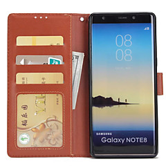 Недорогие Чехлы и кейсы для Galaxy Note 5-Кейс для Назначение SSamsung Galaxy Note 8 Бумажник для карт Кошелек со стендом Флип Чехол Сплошной цвет Твердый Кожа PU для Note 8 Note