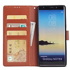 voordelige Galaxy Note 5 Hoesjes / covers-hoesje Voor Samsung Galaxy Note 8 Portemonnee Kaarthouder met standaard Flip Volledige behuizing Effen Kleur Hard PU-leer voor Note 8