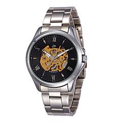 お買い得  メンズ腕時計-男性用 機械式時計 自動巻き ブラック / シルバー 30 m 耐水 透かし加工 ハンズ ブラック ブラック / シルバー ホワイト / シルバー