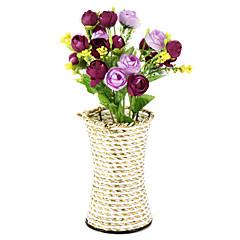 꽃병 홈 장식과 1branch 실크 / 플라스틱 장미 인공 꽃