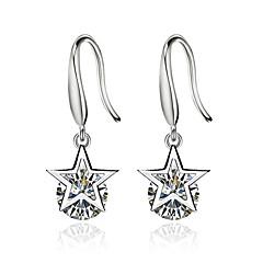 preiswerte Ohrringe-Damen Kubikzirkonia Tropfen-Ohrringe - versilbert Stern Weiß Für Zeremonie Valentinstag