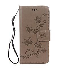 Кейс для Назначение Apple iPhone X iPhone 8 iPhone 8 Plus Кошелек Бумажник для карт со стендом Флип Рельефный Чехол Бабочка Цветы Твердый