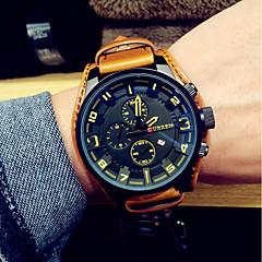 tanie Promocje zegarków-Męskie Modny Zegarek na nadgarstek Na codzień Japoński Kwarcowy Kalendarz Skóra Pasmo Czarny Brązowy