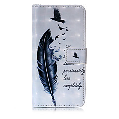 Недорогие Кейсы для iPhone-Кейс для Назначение Apple iPhone X iPhone 8 Кошелек Бумажник для карт со стендом Флип С узором Чехол  Перья Твердый Искусственная кожа для