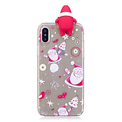 hoesje Voor Apple iPhone X iPhone 8 Plus Patroon DHZ Achterkantje 3D Cartoon Kerstmis Zacht TPU voor iPhone X iPhone 7s Plus iPhone 8