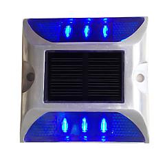 tanie Oświetlenie zewnętrzne-1szt aluminiowa słoneczna 6-led na zewnątrz drogi podjazd dok ścieżka ziemi światło niebieskie światło