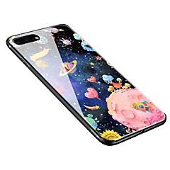 Недорогие Кейсы для iPhone-Кейс для Назначение Apple iPhone X / iPhone 8 Plus С узором Кейс на заднюю панель Цвет неба Мягкий Закаленное стекло для iPhone X / iPhone 8 Pluss / iPhone 8