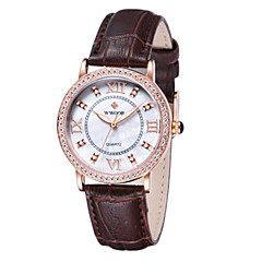preiswerte Damenuhren-WWOOR Damen Armbanduhr Nachts leuchtend / Cool Leder Band Freizeit / Modisch / Elegant Schwarz / Rot
