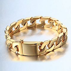 cheap Bracelets-Men's Thick Chain Curb Bracelet - 18K Gold Plated, Stainless Steel Fashion, Hip-Hop Bracelet Gold / Silver For Casual Daily Wear