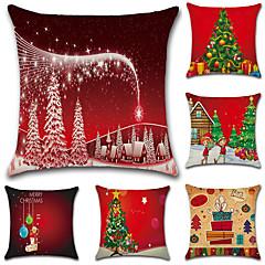 6 개 면/린넨 베게커버 베개 커버,노벨티 패션 크리스마스 레트로 전통적/ 클래식 유롭 크리스마스
