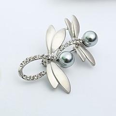 お買い得  ブローチ-女性用 ブローチ  -  人造真珠, イミテーションダイヤモンド トンボ, アニマル 甘い ブローチ ゴールド / シルバー 用途 日常
