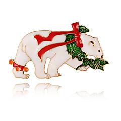 Недорогие Женские украшения-Жен. Броши - Медведи Классический, Милая, Элегантный стиль Брошь Белый Назначение Рождество / Новый год