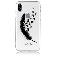 Χαμηλού Κόστους Θήκες iPhone-tok Για Apple iPhone X iPhone 8 Εξαιρετικά λεπτή Διαφανής Με σχέδια Ανάγλυφη Πίσω Κάλυμμα Φτερά Μαλακή TPU για iPhone X iPhone 8 Plus